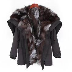 Women's Winter Casual Bat-Sleeved Hooded Parka With Rabbit Fur Hooded Parka, Parka Coat, New York Girls, Fur Collar Coat, Bat Sleeve, Love Clothing, Denim Coat, Nyc Fashion, Rabbit Fur