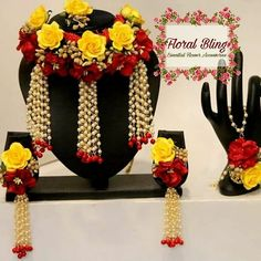 To get one for yourself or for your friends and relatives for their wedding kindly contact 8779268166 . Flower Jewellery For Mehndi, Flower Jewelry, Fancy Jewellery, Indian Wedding Jewelry, Bridal Jewelry, Indian Jewelry, Haldi Ceremony, Flower Ornaments, Jewelry Patterns