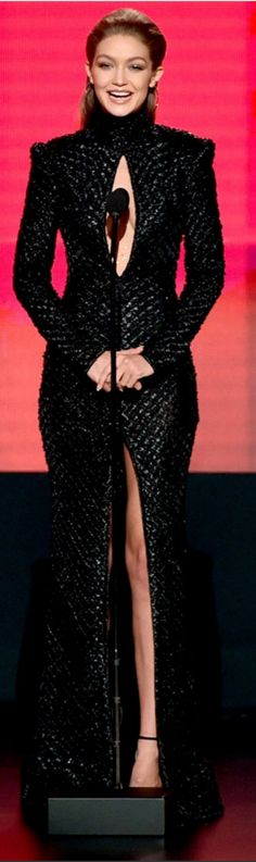 Who made Gigi Hadid's black sandals and cut out gown?
