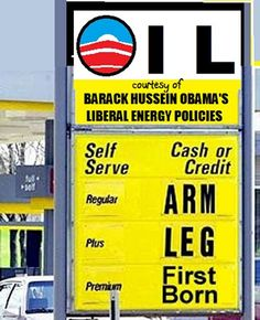 You think gas prices are high now? You haven't seen anything yet. Remember, Obama's own Energy Secretary said he wants our gas prices to be as high as Europe's. Funny Street Signs, Funny Signs, Political Signs, Political Cartoons, I Got Your Back, Car Humor, Bar, That Way, Laugh Out Loud