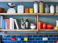 Industrial copper frame shelves for the kitchen Frame Shelf, Copper Frame, Industrial Shelving, Bathroom Medicine Cabinet, Floating Shelves, Kitchen, House, Home Decor, Shelf