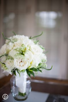 White Wedding Bouquet with Freesia, Veronica,Queen Anne's Lace, Ranunculus and Roses