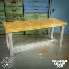 Reclaimed Bowling Alley - Bench - Coffee Table with Aircraft Grade Aluminum Base - Modern Industrial Decor - IndustrialReclaim.com