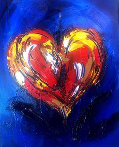 Heart on Blue canvas painting Mark Kazav Original Oil Painting no reserve Canvas Painting Landscape, Oil Painting On Canvas, Blue Canvas, Abstract Flowers, Impressionist, Blue Flowers, Cute Dogs, Original Paintings, Texture