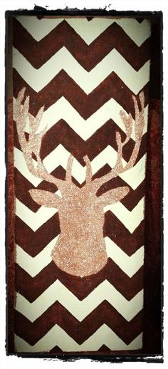 Hand Painted Deer Silhouette on Chevron