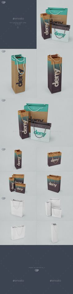 Corrugated Paper Bag 3 Types #Mockup - Miscellaneous #Packaging Download here: https://graphicriver.net/item/corrugated-paper-bag-3-types-mockup/16731777?ref=alena994