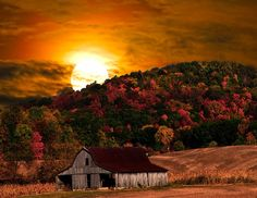 Harvest Moon And Barn