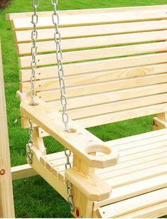 Outsunny Wood Handmade Porch Swing with Hang Chain: Patio, Lawn & Garden Bench Swing, Pergola Swing, Yard Swing, Pergola Kits, Pergola Ideas, Porch Swings, Backyard Projects, Outdoor Projects, Wood Projects