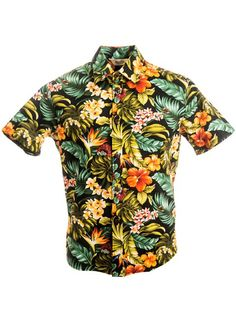[Exclusive] Slim Fit Hawaiian Shirt [Island Flowers / Black] - Women's Hawaiian Shirts - Hawaiian Shirts | AlohaOutlet SelectShop