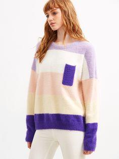 Jersey de mohair hombro caído de color combinado-(Sheinside)