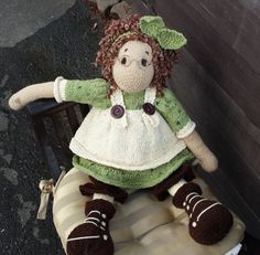 THIS IS FOR THE PATTERN ONLY NOT THE DOLL  Pattern is knitted in the ROUND but can be easily converted to knit flat. Some parts are knitted flat.  The