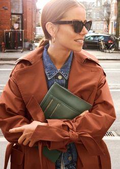 & Other Stories | Inspiration | Belted Oversized Trenchcoat | Cropped Denim Jacket | Utility Crossbody | Square Sunglasses