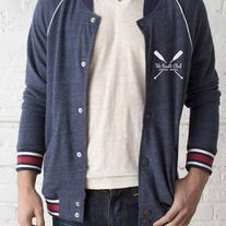 Perfectly broken-in like your old-school varsity jacket, this throw-back style features raglan sleeves with contrast jersey piping and six snaps for closure. Accented with a rib neckband and sleeves, plus two front welt pockets. Part of our eco-friendly Yacht Club collection, made of unbelievably...