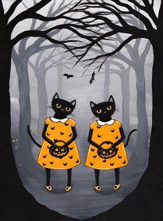 The Halloween Twins Original Cat Folk Art by KilkennycatArt
