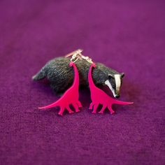 NEW Pink Acrylic Dinosaur Earrings by thebadgerset on Etsy, £7.50