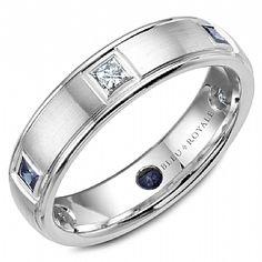 7ced5abd15c5c9 A Bleu Royale white gold wedding band with 3 princess diamonds and 3  princess blue sapphires. Crownring - Designer Wedding Ring For Men