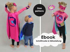 """YEAHHHHH FREE PATTERN!!!!!!!!!!!!!  Crash, Bäng, Kapow......, sei einfach ein Superheld! Mit diesem """"Superhelden-Outfit"""" ist die Macht bei Dir. Mit Superkräften ausgestattet fliegst Du los und rettest die Welt. Jedenfalls an Karneval ;-), oder immer wenn Dir danach ist. Welches Kind wünscht sich das nicht? Das Cape ist für alle kleinen Superhelden und Superheldinnen die sich gern verkleiden. Mit der passenden Heldenmaske ist das Outfit perfekt. Du kannst das Cape in diesen zwei Größen n..."""