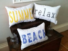 SUMMER relax BEACH Pillows | canvas | any color