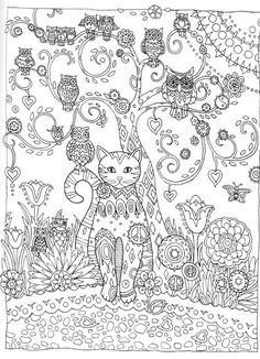Cat And Owls Abstract Doodle Zentangle