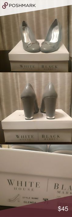 White House Black Market Glenda Heels Super cute gray heels with silver accents White House Black Market Shoes Heels
