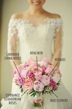 Love the color combination! Pink peony and rose bridal bouquet // Floral Bouquet Recipes by Theme - Part 1