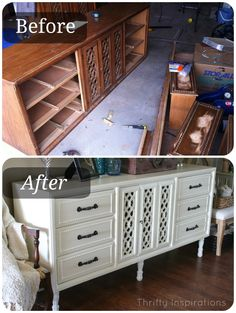 Sideboard Before After. Dresser repurposed with fresh coat of paint, painted hardware and new legs.