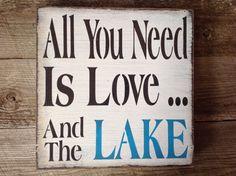 Lake sign lake house lake primitive lake sign welcome by KerriArt