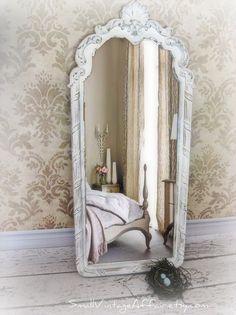 Gerona White Shabby Chic Leaner Antique Dress Mirror 25 x 63 X Large ...