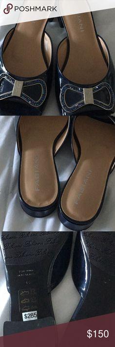 Fabiani shoes Fabiani navy bow shoes with blue crystals slides New fabiani Shoes