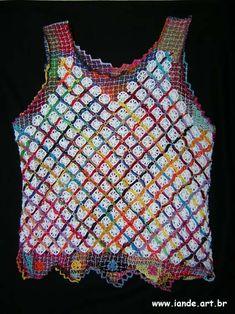 renda de file Filets, Crochet Fashion, Knit Crochet, Embroidery, Tank Tops, Knitting, Tenerife, Women, Threading