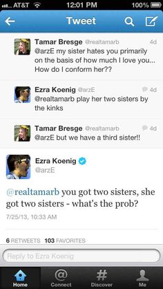 And family in general for that matter. | Vampire Weekend's Ezra Koenig Is Better At Twitter Than You