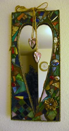 Mosaic Heart Mirror. Inspiration for a page...use aluminum foil for mirror...or silver metallic paint.