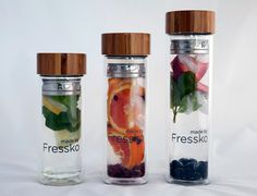Glass, bamboo and stainless steel drink bottles; Sip tea, coffee and fruit infusions. Made by Fressko Water Flask, Glass Flask, Take Away Cup, Fruit Water, Water Water, Double Glass, Vacuum Flask, Plastic Bottles, Water Bottles