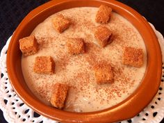 Cocinando con Lola García: Puches (gachas dulces) Flan, Cheeseburger Chowder, Hummus, Soup, Pudding, Chocolate, Ethnic Recipes, Desserts, Gastronomia