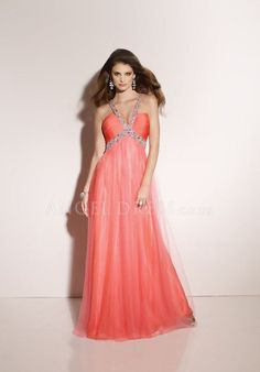 V Neck A line Tulle Sleeveless Floor Length Empire Evening Dress With Beading