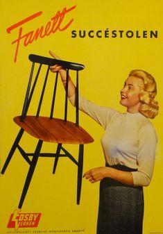 Fanett chair, design Finnish Ilmari Tapiovaara. (Hillevi Rombin, Miss Universe 1955)