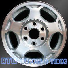 """Chevy Silverado wheels for sale 2003-2007. 16"""" Machined Silver rims 5154 - http://www.rtwwheels.com/store/?post_type=product&p=33028"""