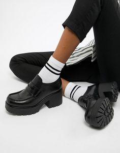 a84f66cce55 Vagabond Dioon black leather platform block heeled loafer