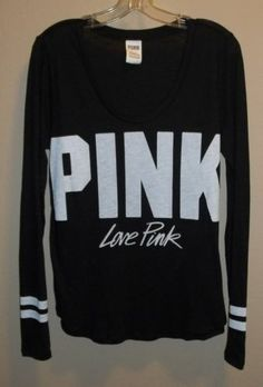 Victoria's Secret PINK Slouchy Crew Black Palms Size Large ...