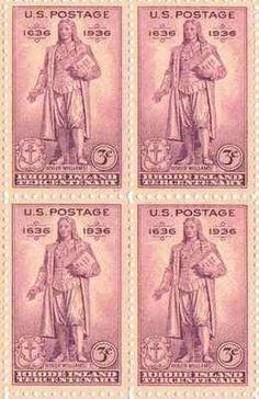 Rhode Island Tercentenary Set of 4 x 3 Cent US Postage Stamps NEW Scot 777 . $5.95. One set of four (4)Rhode Island Tercentenary  4 x 3 Cent postage stamps Scot #777