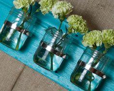 wall vase: mason jars & painted barnwood