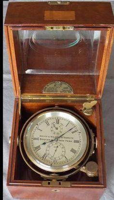 Thomas Mercer Marine Chronometer, Box, Gimbals, 12 Jewels.