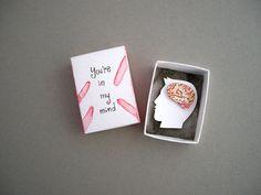 Diorama de papier, l'art de boîte d'allumettes, dans mon esprit, le cadeau petite amie, le cerveau anatomique, art, art de la miniature en papier