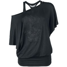Awesome shirts can be found at Rock Rebel by EMP. The black Lace Skull girls longsleeve is a great example. The longsleeve in bat look is double layered with wide neckline. On the front is a big skull-insert - a real eye-catcher! The side deam is ruffled. The racerback-top is attached to the shirt.