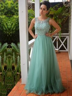 A-line Tulle Scoop Neck with Beading Floor-length Formal Dresses, #formaldressaustralia, #formal, #dresses, #classic, #femine, #sparkly