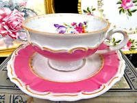 GERMAN TEA CUP AND SAUCER PINK BAND & PINK ROSE PATTERN TEACUP WIDE MOUTH