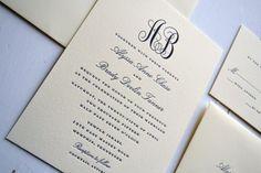 Classic Monogram Wedding Invitations JPress by JPressDesigns
