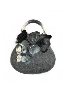 Felt bag  Felted bag  Accesories Grey White Roses Felt Handbag Bag Handmade  flower purse Wool Merinowool Art Gift Purse Bags Felted bag by Feltpoint on Etsy https://www.etsy.com/ca/listing/255673261/felt-bag-felted-bag-accesories-grey