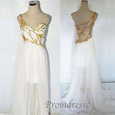 2015 goldeb sequins white chiffon one-shoulder long prom dress  graduation dresses