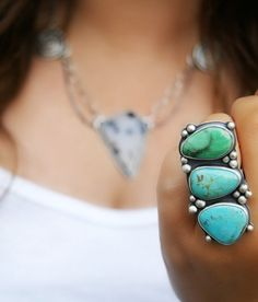 Ring | MercuryOrchid Designs.  King's Manassa turquoise stones, a minty fresh green Variscite and silver.